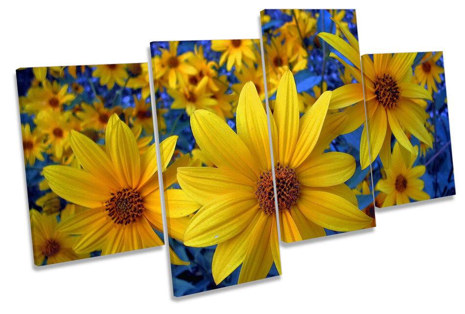Gelb Flowers Blau Floral CANVAS Wand Kunst MULTI  Box Framed