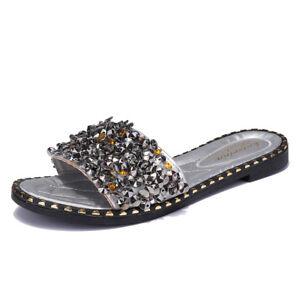 83cb68ea3c9d1 Image is loading Fashion-Women-Sequins-Slippers-Summer-Glitter-Mule-Beach-