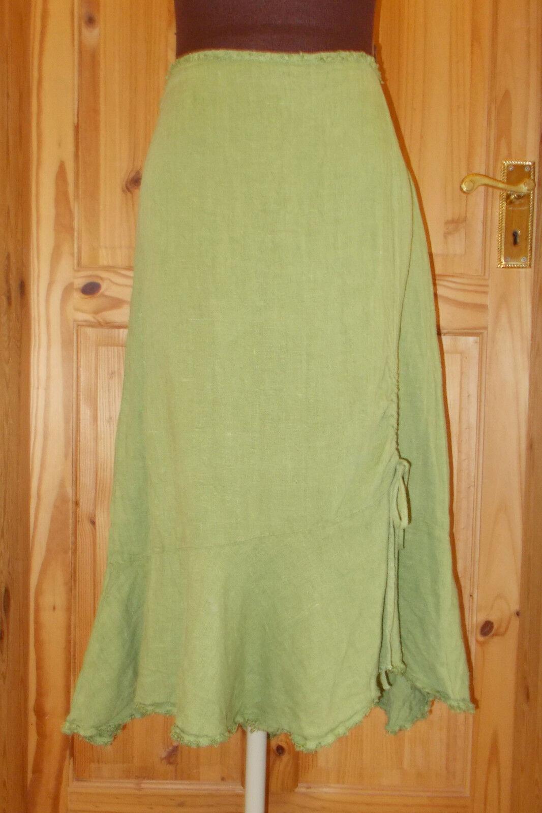 PER PER PER UNA M&S verde Lime Pea Lino Asimmetrico Cavallerizza Al Polpaccio Midi Gonna 14L 42 c0ee4c