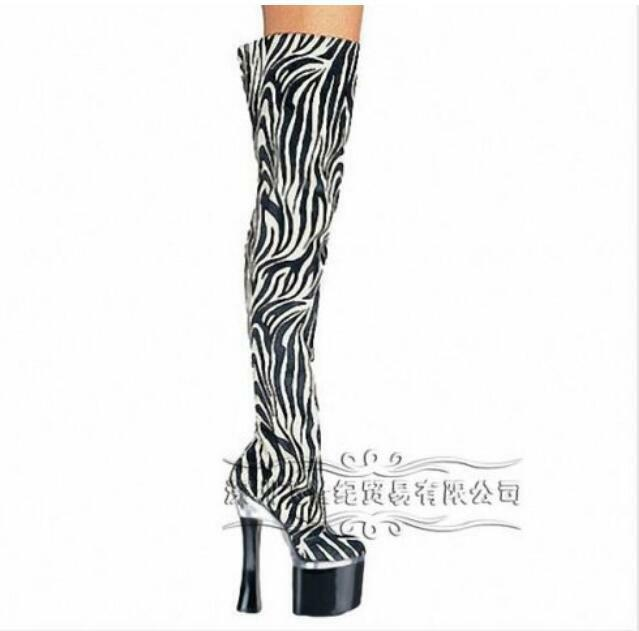 Womens Over The Knee Boot Platform Zebra-Stripe High Chunky Heel Shoes Pumps