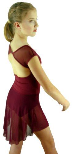 Black Burgundy Purple Modern Dance Lyrical Ballet Costume Dress 6 8 10 12 14
