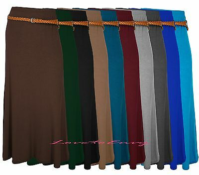 Der GüNstigste Preis Ladies Womens Long Plain Belted Maxi Boho Style Gypsy Vintage Jersey Knit Skirt
