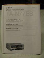 Sony TA N77ES AMP OPS Manual.