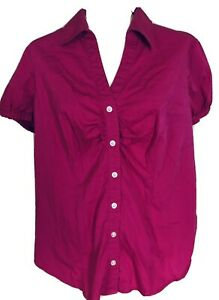 Fashion Bug Women's 1X Blouse Fuchsia Short Sleeves Button Down Collared V Neck