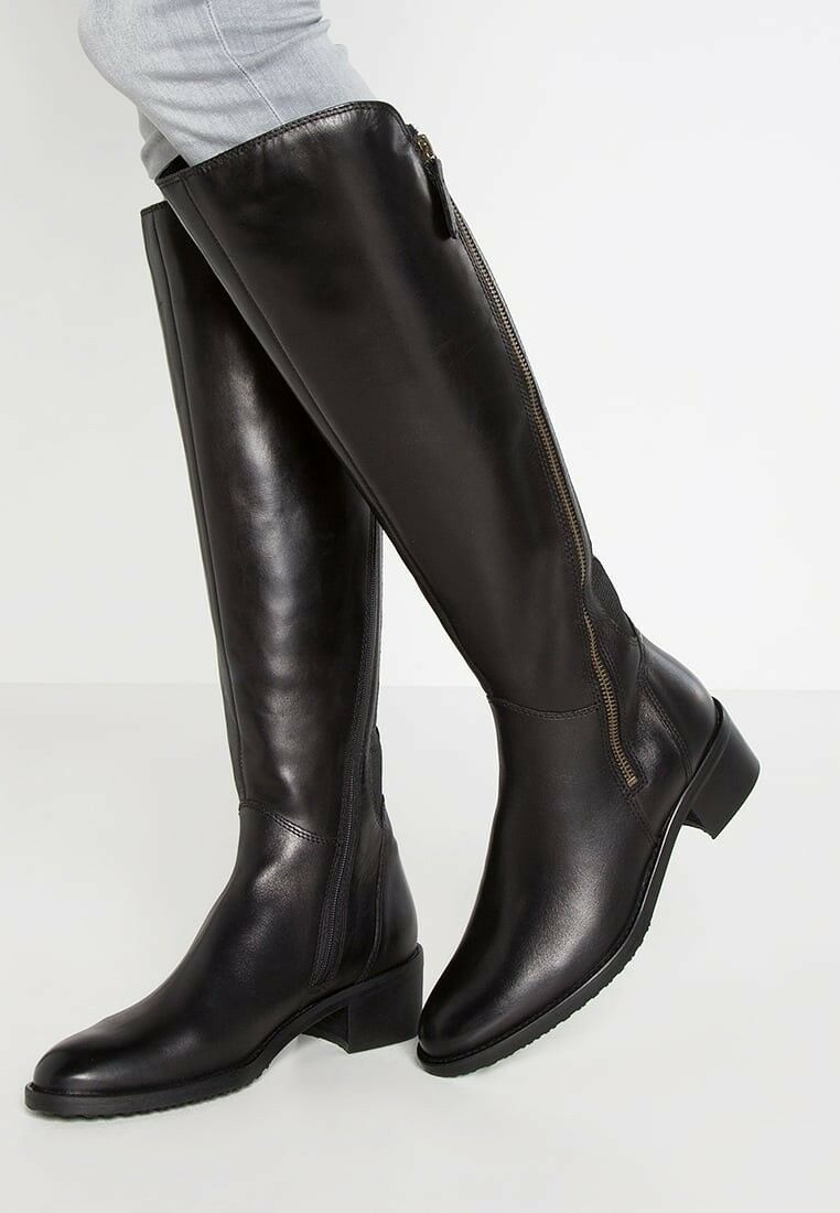 Clarks Artizan Ladies Black Leather Riding Long Boots Size 4 37 E(wide fit)