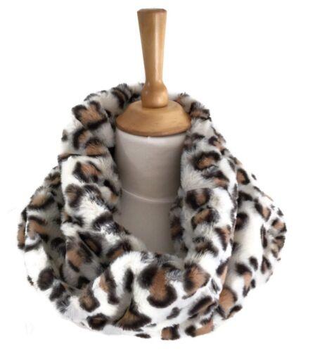 Tan Beige Animal Print Winter Faux Fur Mobius Snood Infinity Scarf Cowl Neck