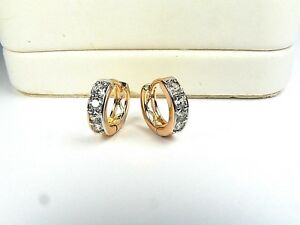 18ct real white and yellow gold GF earrings with simulated diamonds, weight 2g