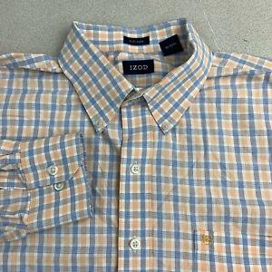Izod-Button-Up-Shirt-Mens-XL-Easy-Care-Blue-Orange-Long-Sleeve