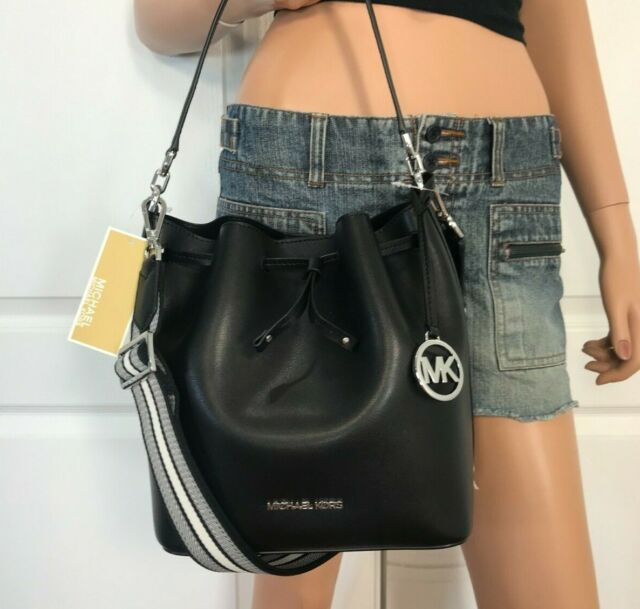 NWT Michael Kors Eden Medium Drawstring Bucket Bag Black Silver Leather New