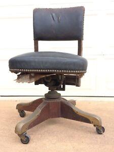 Antique-Revolving-Swivel-Office-Desk-Arm-Chair-Circa-1933-Needs-Restoration