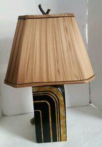 Vintage Maitland & Smith Black Gold Table Lamp Gold Pleated Shade