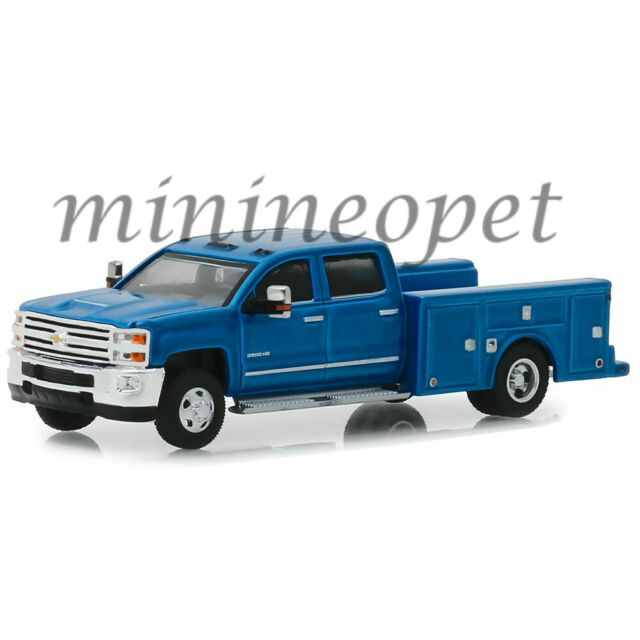 GREENLIGHT 46010 B DUALLY 2018 CHEVROLET SILVERADO 3500 SERVICE BED 1/64 BLUE