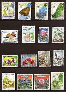 CAMBOYA-lot-de-16-Timbres-obliteres-Minerales-Flora-Pajaros-130T5