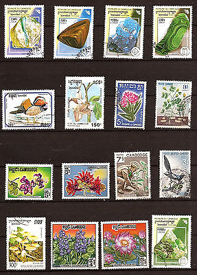 Kompetent Kambodscha Packung 16 Timbres.obliteres:mineralien,flora,vögel 130t5 Asien