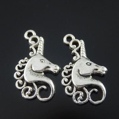 10pcs Atq Silver Pretty Horned Beast Horse Pendant Charm Jewelry Crafts 22x15mm