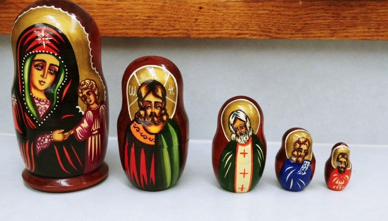Russian Nesting Dolls Religious Themed, Signed, Rich Farbes, 5 pieces