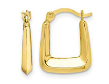 10K Yellow Gold Square Hollow Hoop Earrings 2/3 Inch (2.00mm)