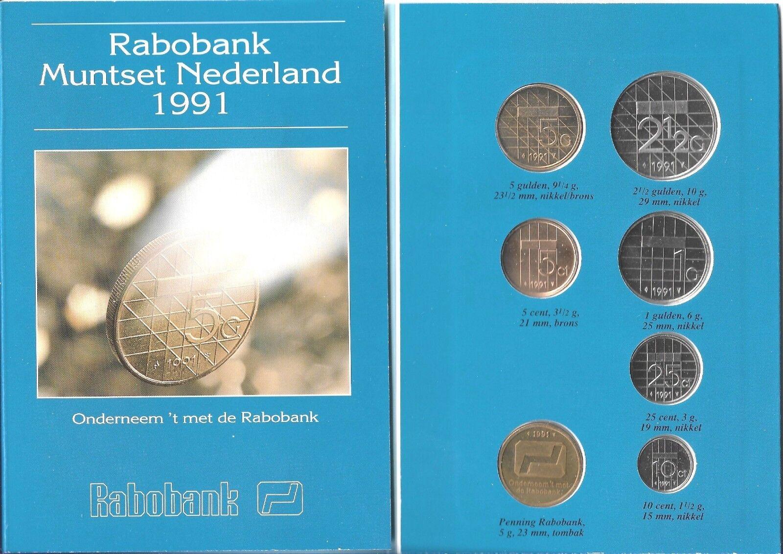 1 Dutch Mint Medal UNC B2 NETHERLANDS 1990 COIN SET 6 Coins 5 Cent 5 Gulden