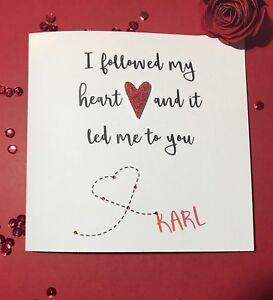 Handmade Personalised Cute Valentines Day Card Boyfriend Girlfriend
