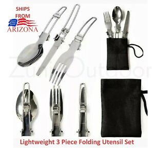 Trail Blazer 3pc Camping Utensil Set Stainless Steel Fork Knife Pouch Spoon