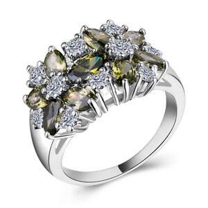 Women-925-Silver-Jewelry-Peridot-amp-White-Sapphire-Wedding-Ring-Size-6-10