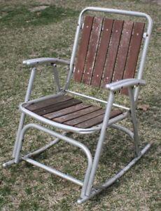 Vintage Aluminum Redwood Wood Slates Chair Rocker Folding