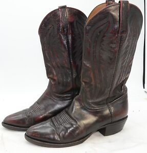 d14cccea626 Details about Lucchese 2000 USA Handmade Black Cherry Kangaroo Leather  Cowboy Boots Sz 10D