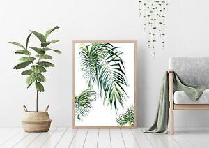 Decor Unframed A4//A3 Poster Palm Leaf Wall Art Print on Light Pink Background