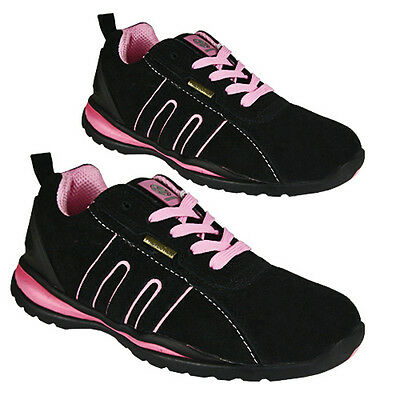 ** WOMENS SAFETY BOOTS LEATHER STEEL TOE CAPS ANKLE TRAINERS HIKING SHOES LADIES
