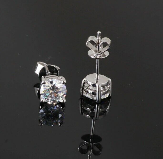 7cdc51ef9 0.5ct ApolloGem moissanite stud earrings, 4 claw, 18K white gold, push back  butterfly closure.