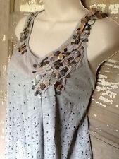 ANTHROPOLOGIE DELETTA XS lined Grey Embellished Baby doll Top Sleeveless