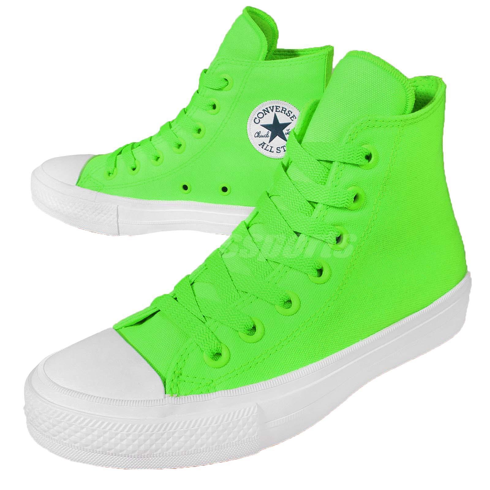 Converse Chuck Taylor All Star II 2 Lunarlon Neon Vert Plimsolls Chaussures 151118C