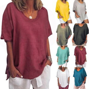 Women-Solid-Loose-Short-Sleeve-Casual-Tops-T-Shirts-Blouse-Plus-Size-Tee-Summer