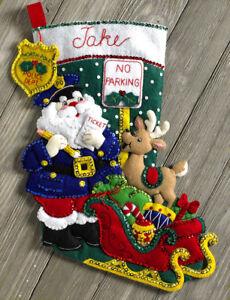 "Bucilla Police Officer Santa ~ 18"" Felt Christmas Stocking Kit #86711, Sheriff 46109867113 | eBay"