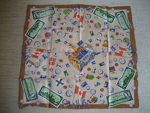 VINTAGE-CANADA-ONE-DOLLAR-BILL-COINS-amp-STAMPS-SOUVENIR-SCARF