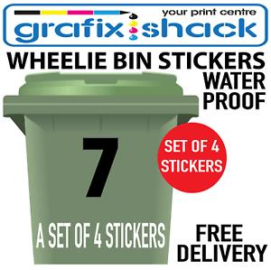 4 Pack Large Black Wheelie Bin Numbers Self Adhesive Vinyl Stickers