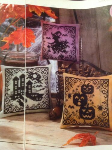 Halloween Spooky Silhouettes Witch Pumpkins Haunted House Cross Stitch Chart