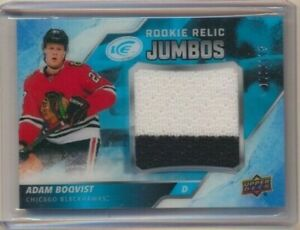 2019-20 UD Ice Rookie Relic Jumbos Adam Boqvist /199 Chicago Blackhawks
