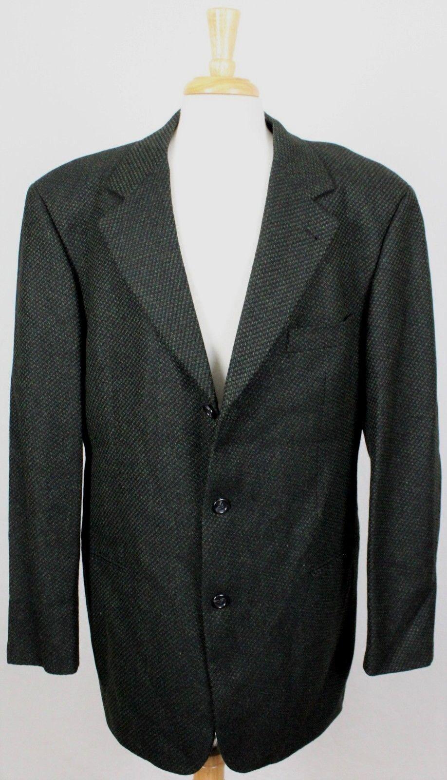 Hugo Boss Vintage USA Wool/Cashmere 3 Button Sport Coat Grün  Herren 44L