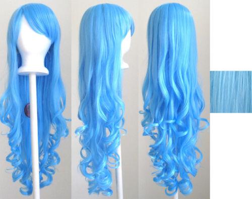 29/'/' Long Curly w// Long Bangs Deep Sky Blue Cosplay Wig