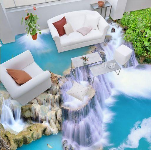 3D Cascade 1 Fond d'écran étage Peint en Autocollant Murale Plafond Chambre Art