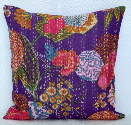 """Indian Purple Cotton Ethnic Cushion Cover Embroidery Pillow Case Covers 16x16/"""""""