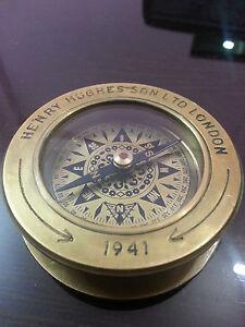 "Rare Vintage Nautical Compass 3""~Henry Hughes Son London 1941~Desk Reding Lens."