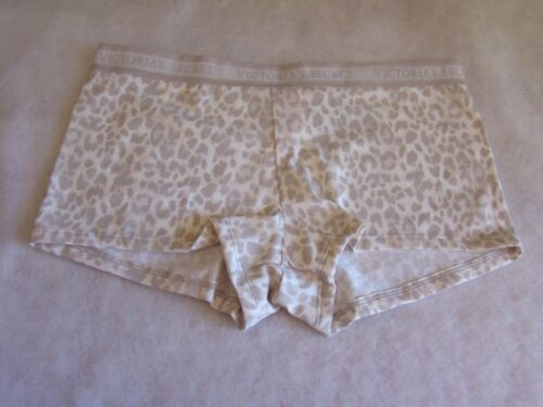 New VICTORIA/'S SECRET White Tan Leopard Print VS Logo Cotton Boyshort Panties