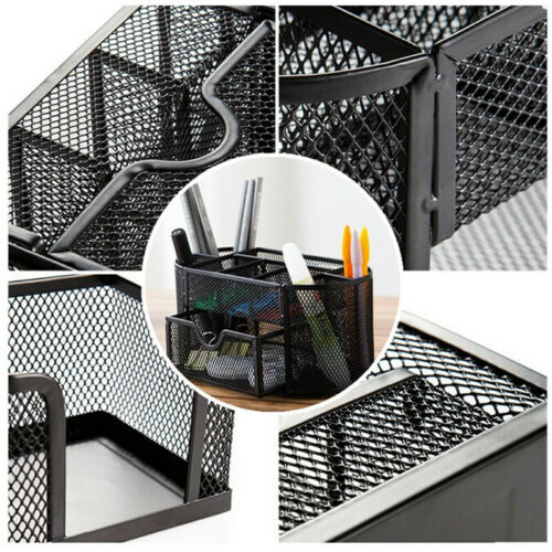 Mesh Storage Organizer Desktop Holder Office Supplies Card Pencil Pen Tray Black