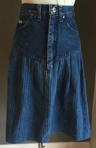 VINTAGE-Great-Condition-Hippy-Chic-LEE-Blue-Denim-Yoke-Skirt-Size-10