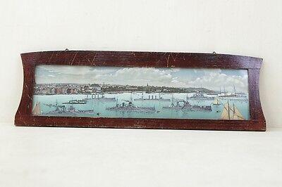 Hafenpanorama,kriegsschiff,kriegsflotte Arte Y Antigüedades Antiguo Marco De Fotos Con Mural Espejos