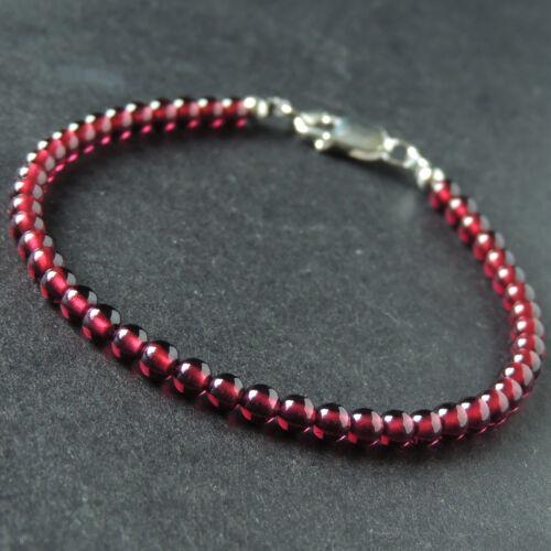 Men/'s Women Garnet Sterling Silver Bracelet 3.5mm Natural Gemstone DIY-KAREN 888