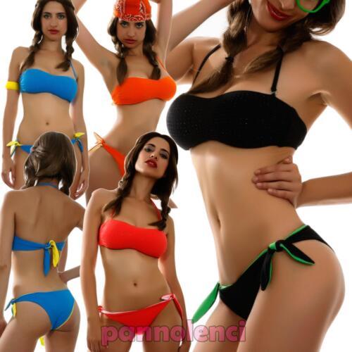 Bikini donna costume bagno mare fascia borchiette due pezzi nuovo FRANCE-2