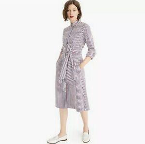 NWT-J-CREW-Tie-waist-118-Button-Up-Shirtdress-in-Stripe-White-Red-Blue-size-2